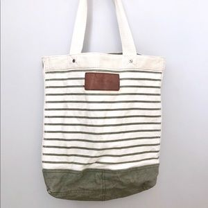 Abercrombie & Fitch Striped Canvas Tote Bag
